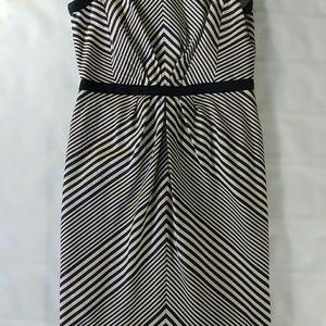 Shoshanna navy and white striped shift dress